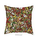 VROSELV Custom Cotton Linen Pillowcase Casino Decorations Doodles Style Art Bingo Excitement Checkers King Tambourine Vegas Bedroom Living Room Dorm Decor 28''x28''