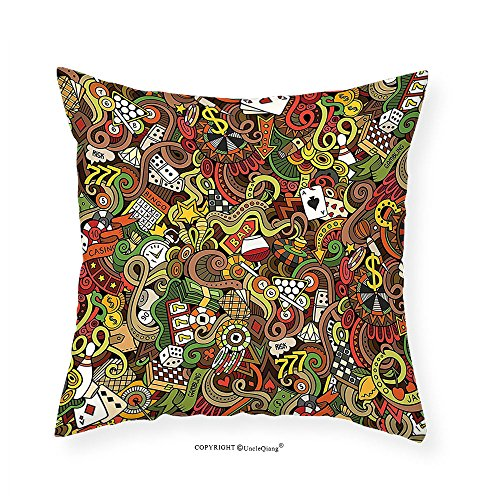VROSELV Custom Cotton Linen Pillowcase Casino Decorations Doodles Style Art Bingo Excitement Checkers King Tambourine Vegas Bedroom Living Room Dorm Decor 28''x28'' by VROSELV