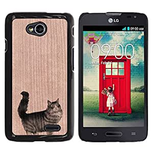 - / Fat Munchkin Cat Cute Pet - - Funda Delgada Cubierta Case Cover de Madera / FOR LG Series III L70 / Jordan Colourful Shop/