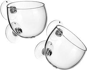 Plant Pot Aquarium Decor Aquatic Plant Cup with 2 Suction Cup for Fish Tank Aquarium Aquascape(2 Pack)