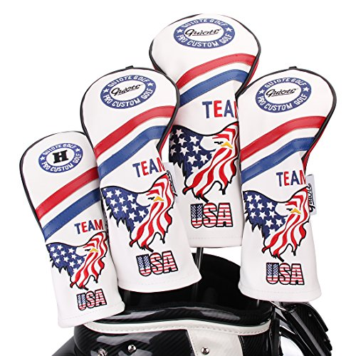 Guiote Golf Head Cover Limited Edition Vintage White/Blue USA Team Eagle #1#3#5 H Included