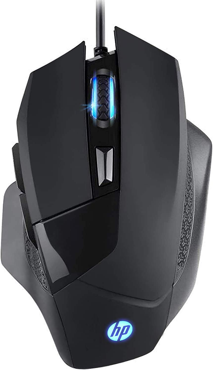 HP Gaming Mouse Wired, Ergonomic Game USB Gaming Laptop Mice RGB, [4000 DPI] Programmable Comfortable Grip 6 Buttons [G200] Black