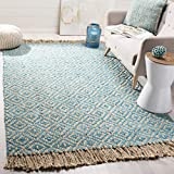Safavieh Natural Fiber Collection NF266C Hand-Woven Turquoise and Natural Jute Area Rug (8' x 10')