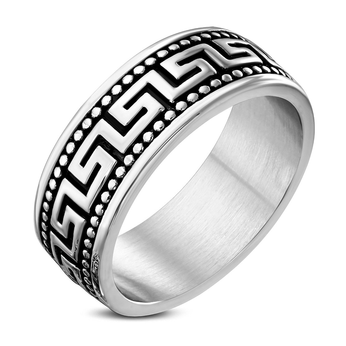 Stainless Steel 2 Color Caviar Bead Greek Key Flat Band Ring