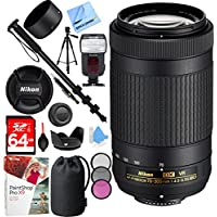 Nikon AF-P DX NIKKOR 70-300mm f/4.5-6.3G ED VR Lens with 64GB SDXC High Speed Memory Card Plus Accessories Bundle
