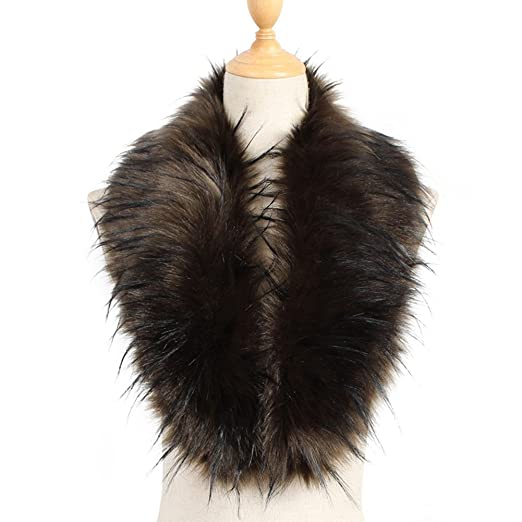 4ed31193d Image Unavailable. Image not available for. Color: Yetagoo Faux Fur Collar  Women's Neck Warmer Scarf Wrap Gatsby 1920s Shawl Accessories