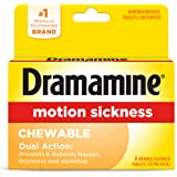 Dramamine Motion Sickness Chewable, Orange flavored, 8 Count