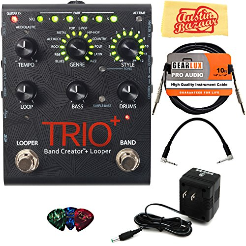 - DigiTech TRIO+ Band Creator + Looper Pedal Bundle with Power Supply, Instrument Cable, Patch Cable, Picks, and Austin Bazaar Polishing Cloth