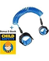 Child Safety Leash + Bonus E-Book Anti Lost Wrist Link Strap Walking Hand Belt Tether Harness For Baby Boys Girls Toddlers Children & Kids 2.5m (Blue)