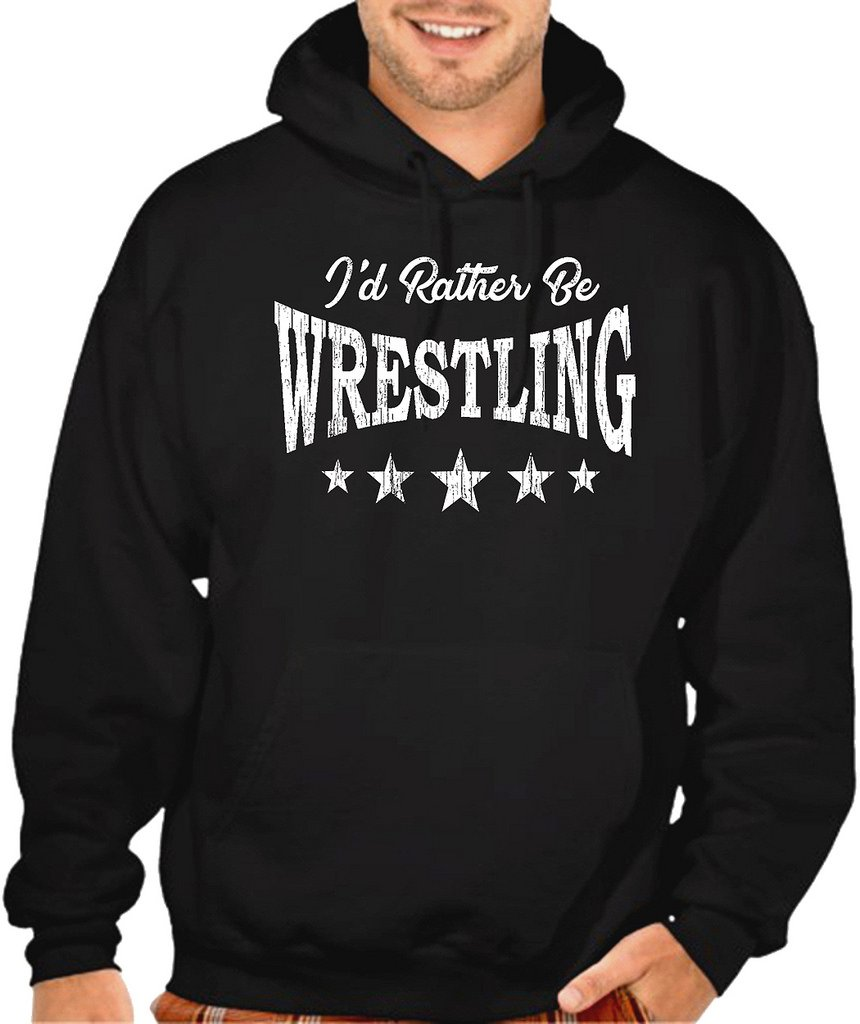 Interstate Apparel Men's I'd Rather Be Wrestling Black Pullover Hoodie Sweater 3X-Large Black by Interstate Apparel