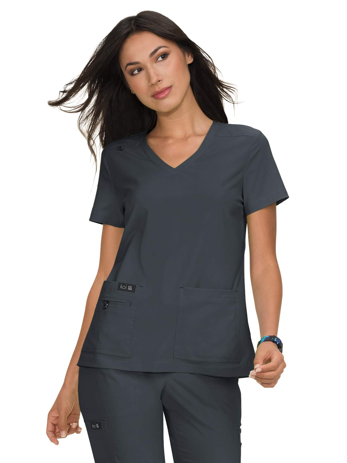 KOI Basics 373 Women's Becca Scrub Top Charcoal L
