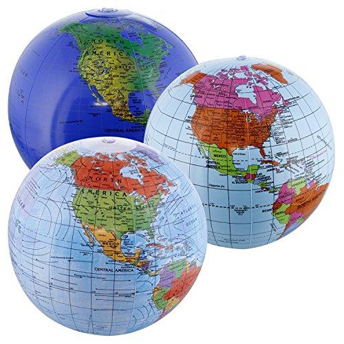 "TCP Global 12"" Inflatable World Globes  - Political, Topogra"