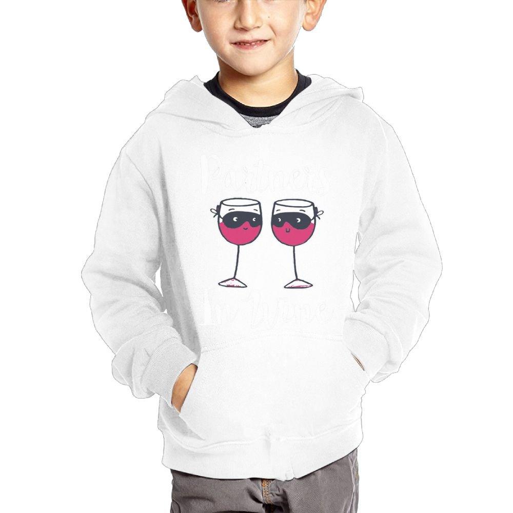 Joapron Partners In Wine Kids Long Sleeve Pocket Pullover Hooded Sweatshirt Black