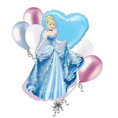 7 pc Cinderella Sparkles Disney Princess Balloon Bouquet Happy Birthday Gown: Toys & Games