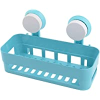 OZ_Mart Blue Plastic Bathroom Wall Hanging Soap Brush Storage Suction Cup Shelf Holder