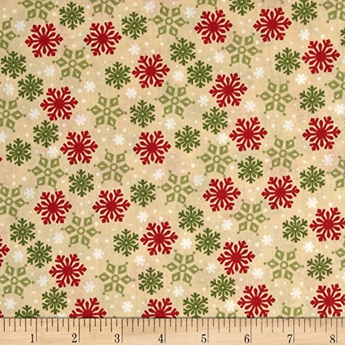 Wilmington Prints Debbie Mumm Peppermint Santas Snowflake Toss Tan Fabric by The Yard