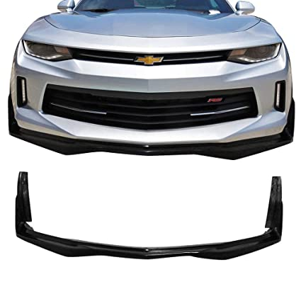 Front Bumper Lip Fits 2016-2018 Chevy Camaro | V6 Stingray Stage 3 Style  Unpainted Black PU Front Lip Spoiler by IKON MOTORSPORTS | 2017