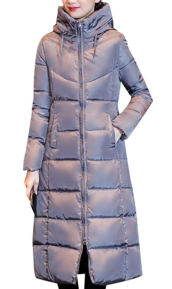 YUNY Women Slim Casual Stand Collar Waterproof Quilted Jacket Grey L