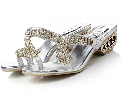 3ab426a216 Amazon.com | Maybest Womens Faux Rhinestone Mid Heel Open Toe Sandal  Slippers | Sandals
