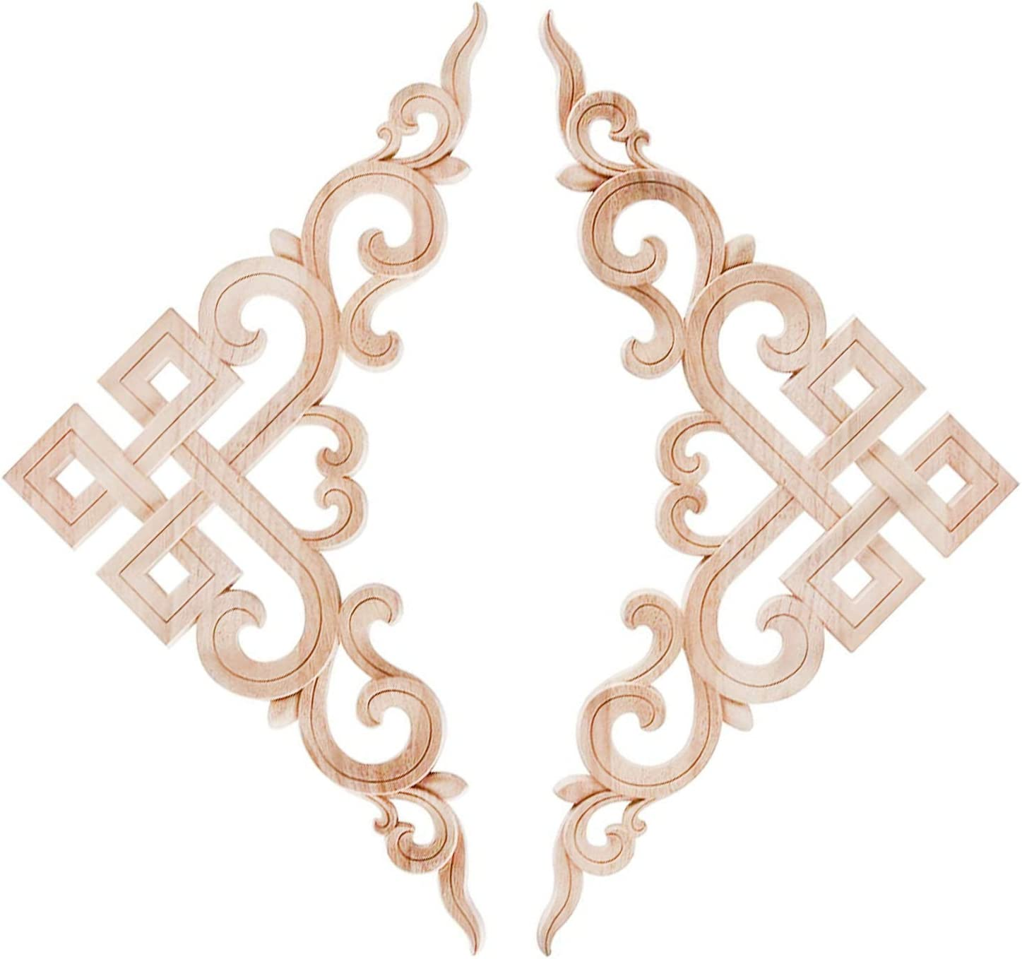 Beoot 2PCS Wood Carved Decal Corner Onlay Applique Frame Furniture Wall Unpainted for Home Cabinet Door Decor (02, 20x20cm/7.87x7.87inch)