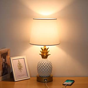Bedside Touch Lamp with USB Charging Port, 3 Way Dimmable Modern Nightstand Lamp with White Lampshade Pineapple LED Touch Lamp for Living Room, Bedroom, Guest Room, Office, 6W LED Edison Bulb Included