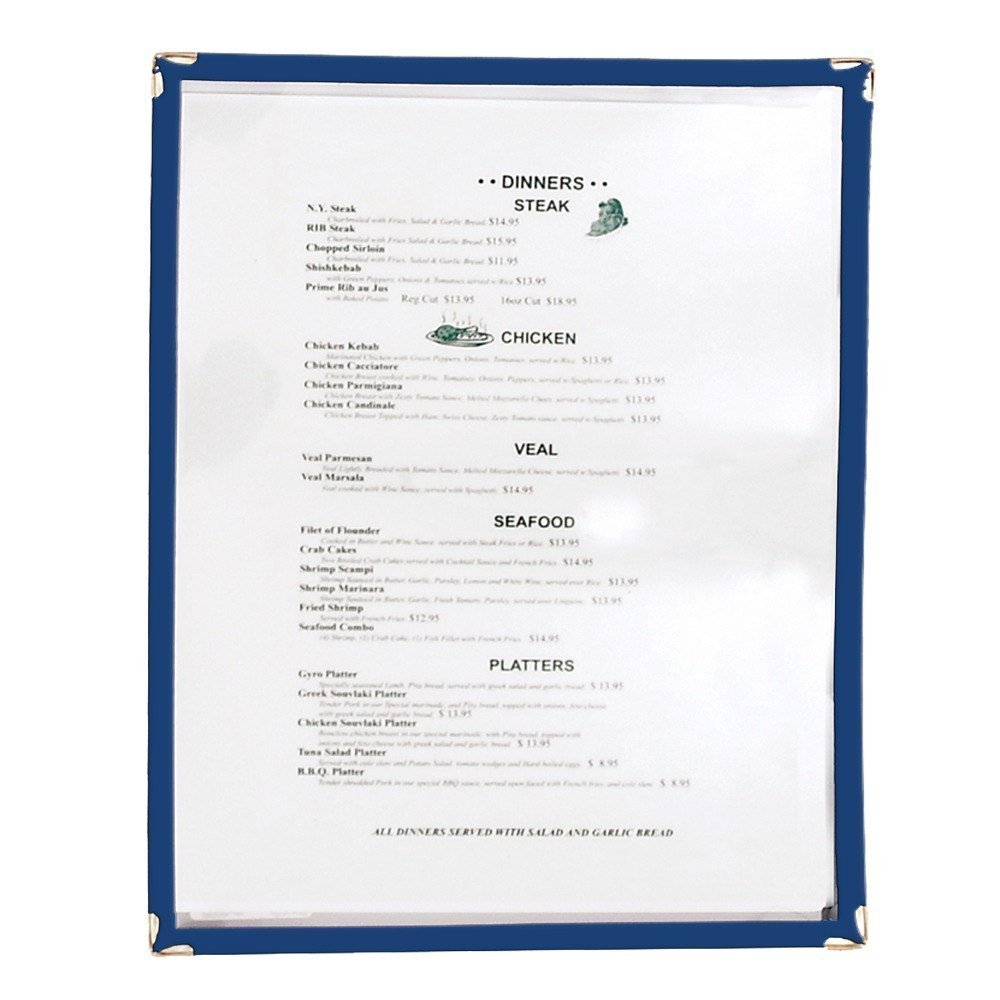 Winco Single Menu Cover, 12-Inch x 9.5-Inch, Blue, Set of 25 by Winco