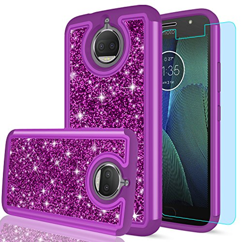Moto G5S Plus Case,Moto G5S+ Case (USA) with HD Screen Protector,LeYi Girls Women Hybrid Soft TPU Hard PC Dual Layer Shock Absorption Protective Case for Motorola Moto G5S Plus (XT1806) FZ Purple