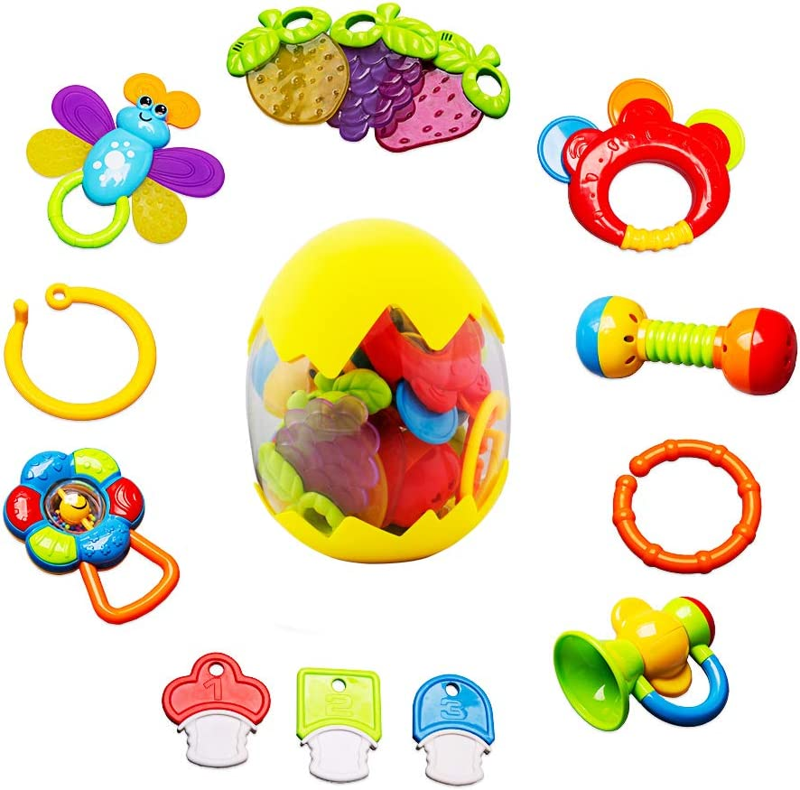 9 Baby Rattle Sets Teether Rattles Toys 12 Month 6 Spin Shaking Bell Musical Toy Set Early Educational Toys with Storage Box Gifts for Toddler Newborn Baby 3 13pcs Infant Grasping Grab Toys