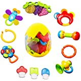 Baby Rattles Teether Toy - sunwuking 13 Pieces Newborn Infant Shaking Rattles Set with Box Packing Educational Rattle…