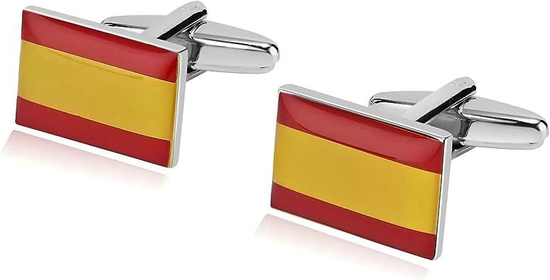 Daesar Joyería Gemelos de Hombre Gemelos Acero Inoxidable Gemelos Camisa Gemelos Bandera de España Cuadrada Gemelos Rojo Amarillo Gemelos para Hombre: Amazon.es: Joyería