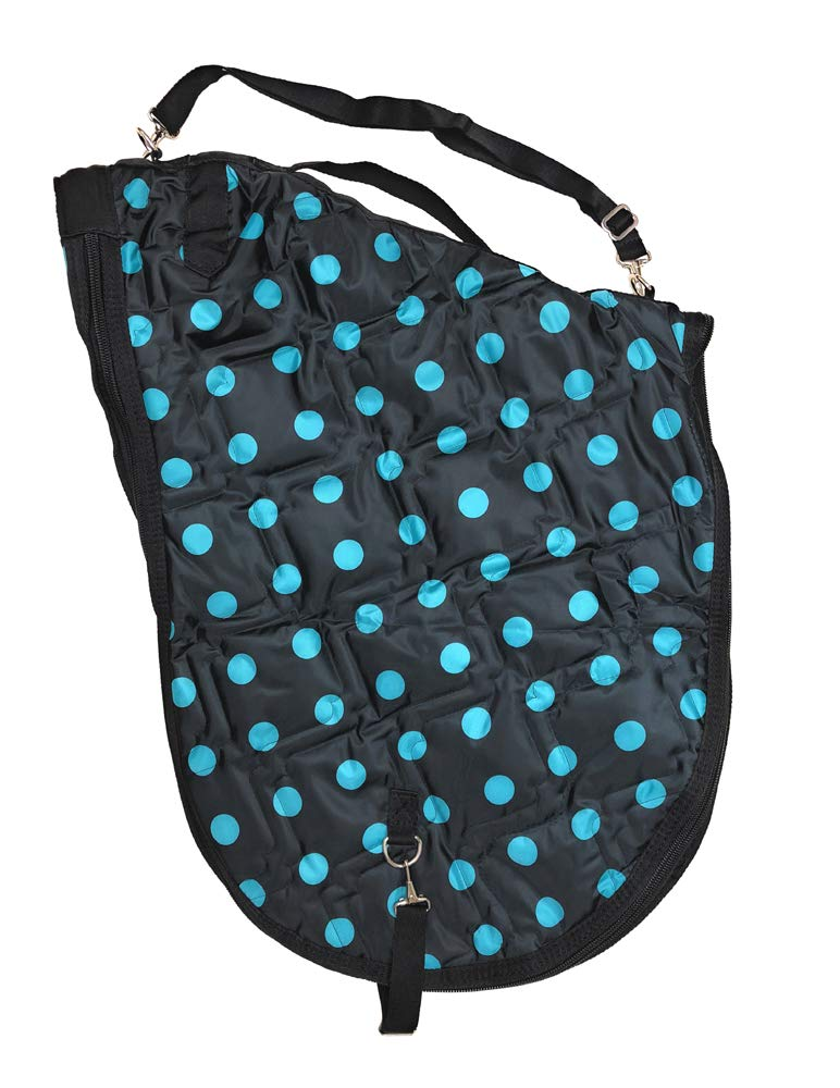Turquoise Dots AJ Tack Wholesale English Horse Saddle Carrier Travel Case Bag All Purpose Saddle Quilted