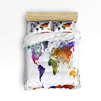 Amazon.com: Fantasy Star Watercolor World Map Comforter Bedding Set ...
