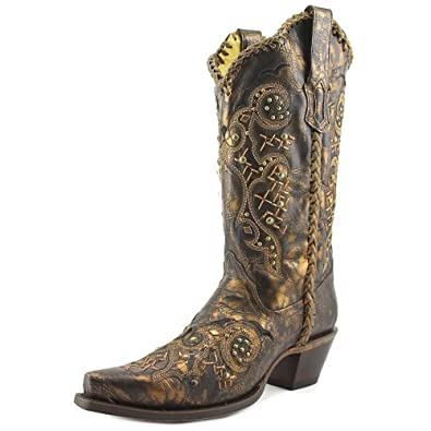 Women's Leather Laced and Studded Snip Toe Cowgirl Boots R1217
