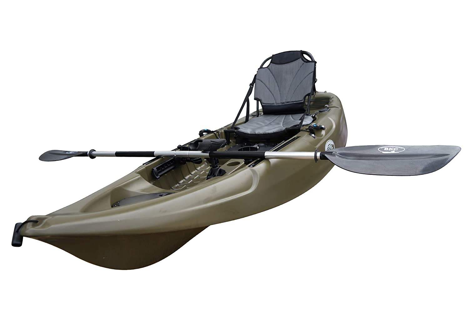 BKC FK285 9.5' Sit On Top Single Fishing Kayak W/Upright Back Support Aluminum Frame Seat, Paddle Included Solo Sit-On-Top Angler Kayak
