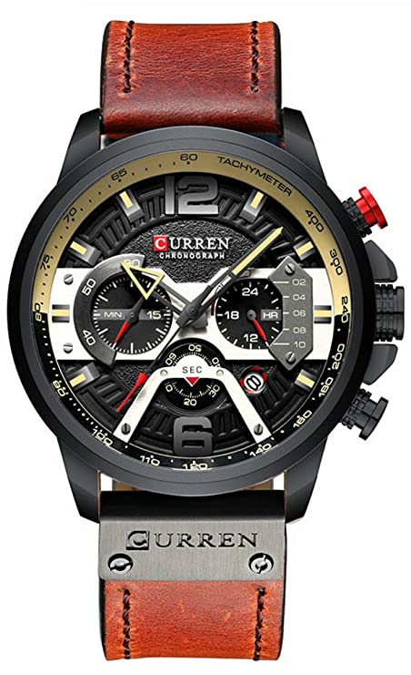 Amazon.com: Mens Military Sport Watches Leather Strap Date Multi-Function Wristwatch Reloj Hombre Mens Quartz: Watches