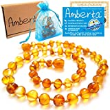 Amber Teething Necklace for Babies Amberta® - Natural Soothing Effect, Anti Inflammatory, Teething Pain & Drooling Relief - 100% Pure Amber, Twist-in Screw Clasp, Handmade