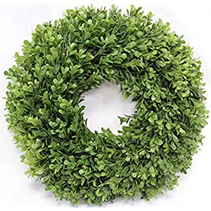Boxwood Wreath Artificial Wreath 13 Inches Home Decor for Front Door or Candle Ring 118