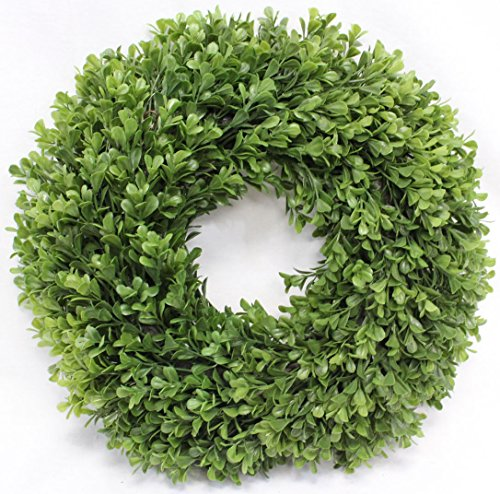 (Boxwood Wreath Artificial Wreath 13 Inches Home Decor for Front Door or Candle)