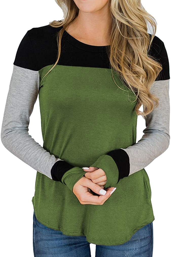 Tobrief Women's Color Block Patchwork Tunic Tops Casual Long Sleeve Shirts S-XXL