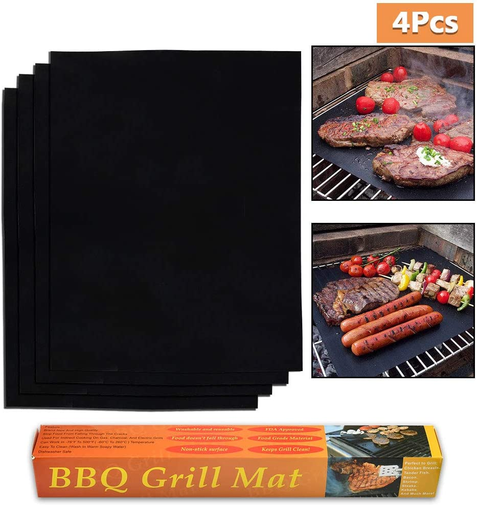 ATPWONZ 4 Pieces Non-Stick Oven Liners -Thick, Heat Resistant Fiberglass Mat -Easy to Clean-Reduce Spills, Stuck Foods - Oven Cleaner for Electric, Gas, Microwave, and Toaster Ovens