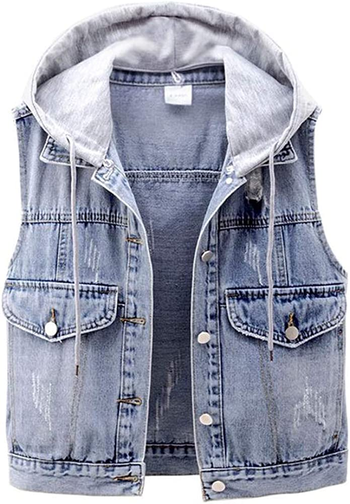 CYSTYLE Damen Perle Jeansweste /Ärmellos Fr/ühling Sommer-Weste College Style Beil/äufige Jeansweste Denim Weste mit Loch Design
