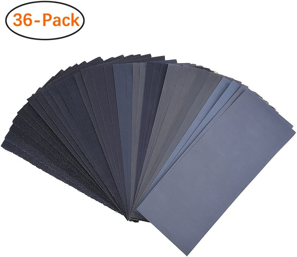 400 to 3000 Assorted Grit Sandpaper for Wood Furniture Finishing, Metal Sanding and Automotive Polishing, Dry or Wet Sanding, 9 x 3.6 Inch, 36-Sheet