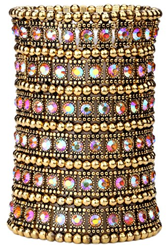 Crystal Stretch Band - YACQ Jewelry Multilayer Stacket Crystal Wide Stretch Sleeve Cuff Bracelet for Women 6 Row