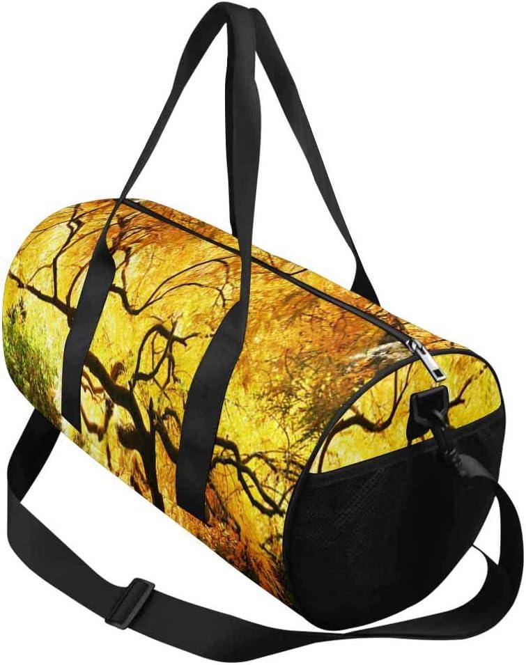 INTERESTPRINT Japanese Maple in Park Gym Duffle Bag Waterproof Travel Weekender Bag