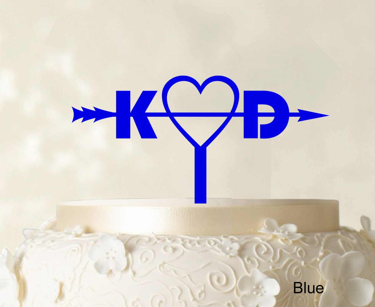 Initial Custom Wedding Cake Topper Personalized Blue Cake Topper Color Option Available 6''-8'' Inches Wide