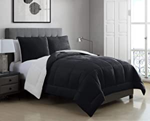 KingLinen 2 Piece Micromink Sherpa Silky Smooth Plush Oversized Black Comforter Set Twin/Twin XL