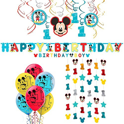 Mickey's Fun To Be One Decorations Party Supplies Pack - Hanging Swirls, Jumbo Letter Banner, Balloons, and Hanging Ceiling String Decorations -