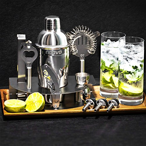 Home-Cocktail-Bar-Set-by-Naava--Stainless-Steel-10-Piece-Mixology-Tool-Kit--With-Bartenders-Professional-Shaker-Strainer-Jigger-Liquor-Pourers-and-More--Attractive-Gift-Box-and-100-Guarantee