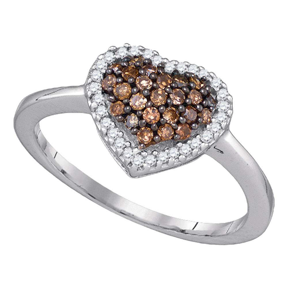 10k White Gold Brown Diamond Heart Ring Love Band Halo Puffed Style Fashion Chocolate Cluster Set 1/3 ctw Size 8