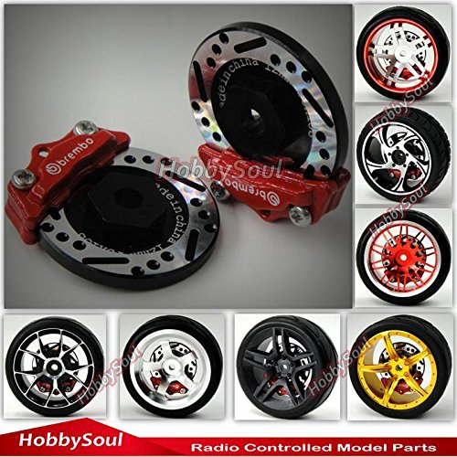 2pcs RC 1/10 RC Alloy Brake Disc Caliper 12mm Hub for 1/10 RC Racing Model Car ()